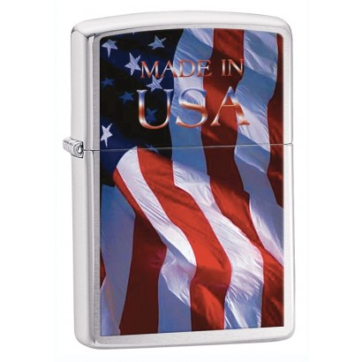 Zippo Sytytin Made in USA Flag  Brushed Chrome