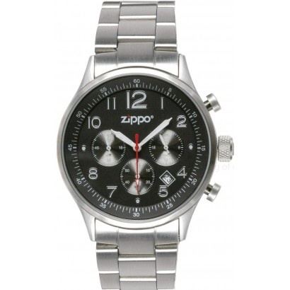 Zippo Black Face Chronograph Sport SS Band Watch