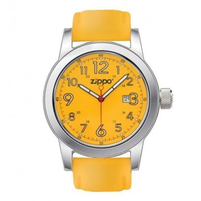 Zippo Men's Casual Watch  With Yellow Leather Strap And Chrome/Yellow Dial