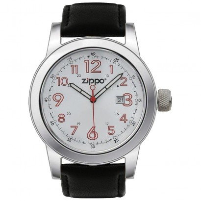 Zippo Casual Watch with White Dial And Black Leather Strap